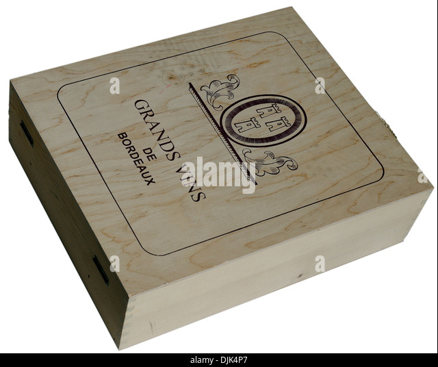 A wooden box of expensive Bordeaux wine - Stock Image