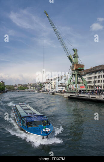 Zurich transit maritim Art project, Harbour crane from Rostock, Zurich, Switzerland - Stock Image