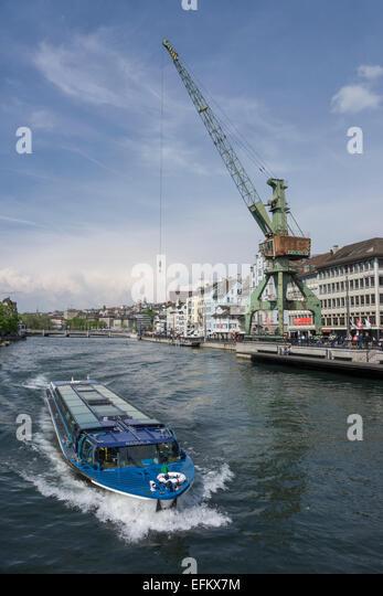 Zurich transit maritim Art project, Harbour crane from Rostock, Zurich, Switzerland - Stock Image