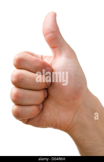 Hand showing thumbs up sign close-up isolated on white background. - Stock Image