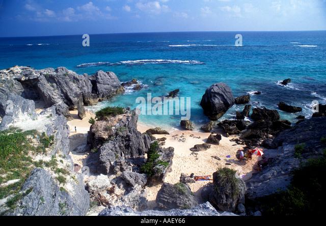 Bermuda Pink Sand Beach Rock Grotto South Shore - Stock Image