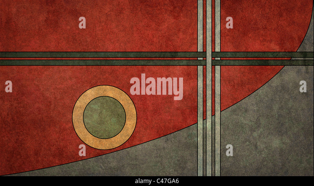 A textured, vintage art-deco style retro background illustration in a 16:9 aspect ratio - Stock Image