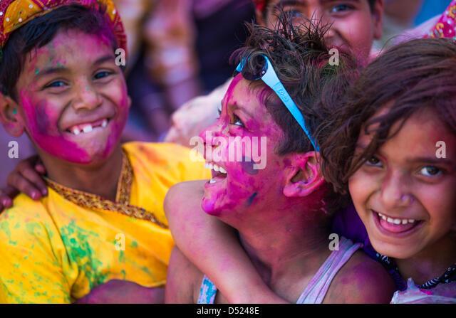 Holi in Barsana, Mathura District,  Uttar Pradesh, India - Stock-Bilder