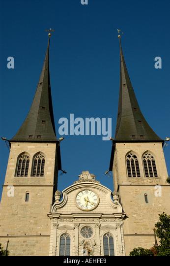 Switzerland Lucerne luzern St Leodegar im Hof church cathedral - Stock Image