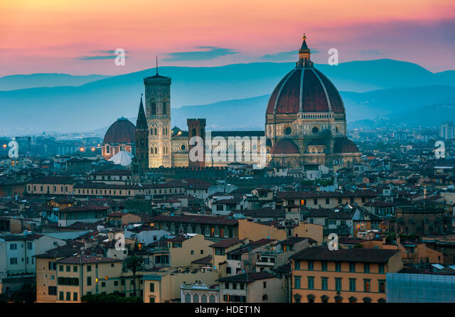 Cathedral in Florence Italy at sunset - Stock Image