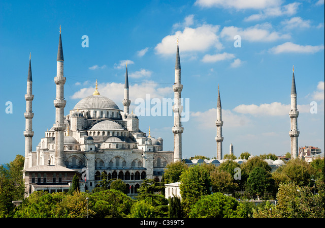 sultan ahmed mosque exterior in istanbul turkey - Stock Image