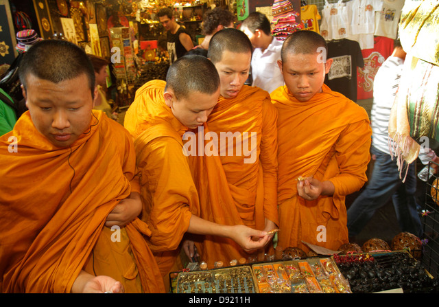 Bangkok Thailand Phra Nakhon Thai Wang Road Tha Tian Historical Market marketplace shopping Buddhist monks Asian - Stock Image