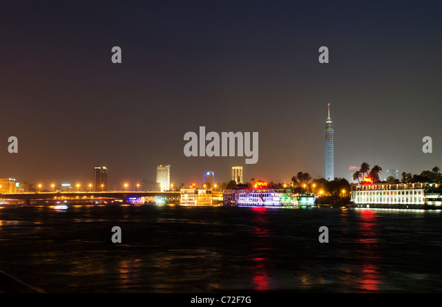 nile riverside by night in cairo egypt - Stock Image