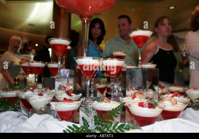 Puerto Rico Atlantic Ocean Holland America Line ms Noordam Lido Restaurant Chocolate Extravaganza dessert display - Stock Image
