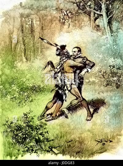 Illustration of a Native American man with a feather headdress and traditional dress attacking a surprised colonial - Stock Image