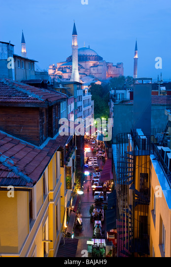 Sancta Sophia Aya Sofia dusk night Istanbul skyline Istanbul Turkey - Stock Image