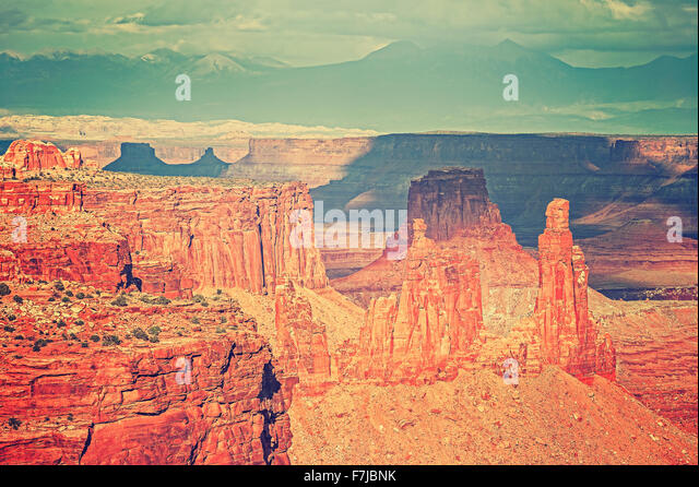 Mountain landscape with red canyon, Utah, USA. - Stock Image