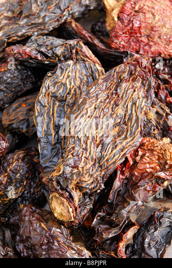 Chipotle 'Moritas'. Dried, smoked jalapeno chillies used to add a smoky heat to Mexican and TexMex dishes. - Stock-Bilder