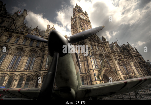 Spitfire aircraft in front of Manchester town hall, Albert Square, Lancashire England UK - Stock Image