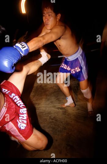 Bangkok Thailand Kick Boxing Muay Thai exhibition at the Rose Garden - Stock Image