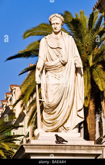 France, Corse du Sud, Ajaccio, Marechal Foch Square also called place des Palmiers (palm trees square), statue of - Stock Image