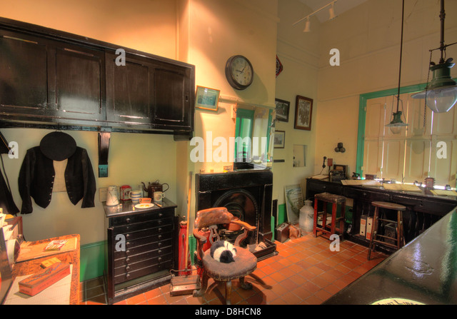 Interior Hadlow road historic preserved railway station, with signal on the Wirral Way, Merseyside, England, UK - Stock Image