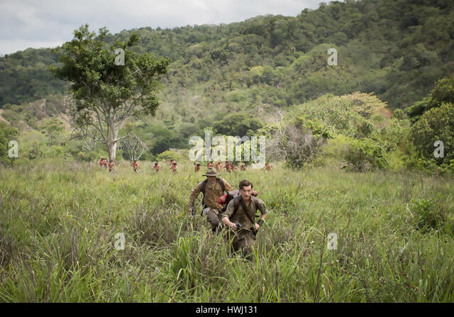 THE LOST CITY OF Z 2016  Amazon Studios film with Charlie Hunnman at left and Tom Holland - Stock-Bilder