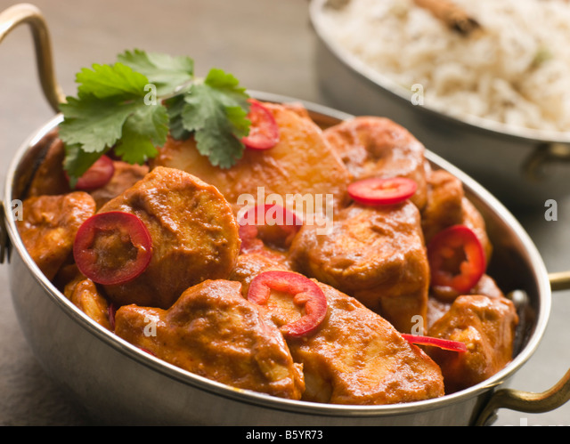 Chicken Chili Tikka Masala with Fragrant Basmati Rice - Stock Image
