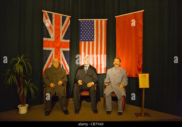 Wax figures of Stalin, Roosevelt and Churchill in Livadia Palace near Yalta, Crimea, Ukraine - Stock Image