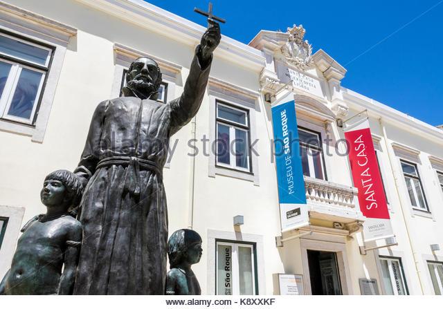 Portugal Lisbon Bairro Alto Museu de Sao Roque Saint Roch museum exterior statue Roque Gonzalez de Santa Cruz Catholic - Stock Image
