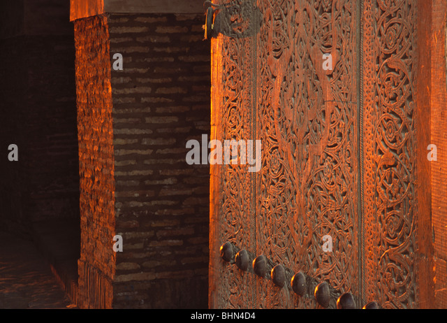 Carved wood gates stock photos