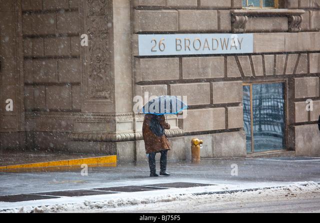 Snowing in lower Manhattan, New York City - Stock Image