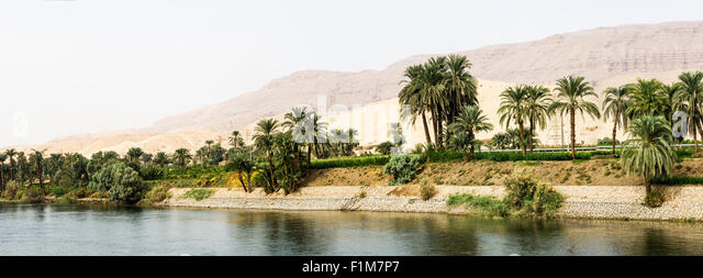 a panoramic view of the Nile River Banks, Egypt - Stock Image
