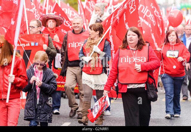 20/10/2012, Belfast - NIPSA members. ICTU hold an anti-austerity rally in Belfast. - Stock Image