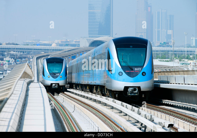 View of Metro railway trains in Dubai United Arab Emirates - Stock Image