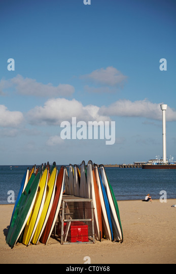 Weymouth beach and Sealife Tower, Jurassic Skyline Tower, at Weymouth in June - Stock Image