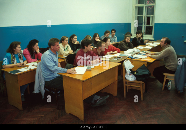 Russia former Soviet Union St. Petersburg university adult education English class - Stock Image