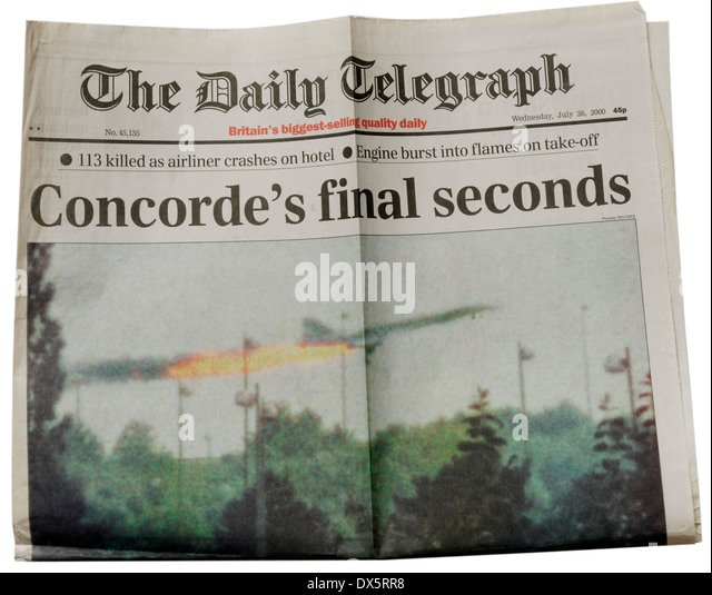 The Daily Telegraph from 26th July 2000 announcing the crash of Air France Concorde at Gonesse near Paris - Stock Image