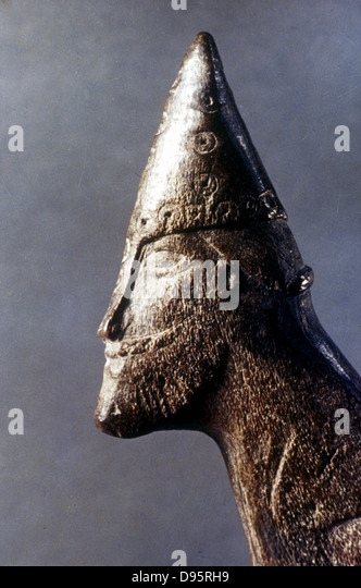 Head of a Viking warrior. National Historical Museum, Stockholm. - Stock Image