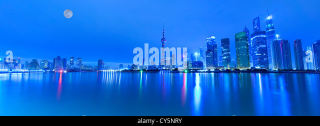night view of shanghai huangpu river,china - Stock Image