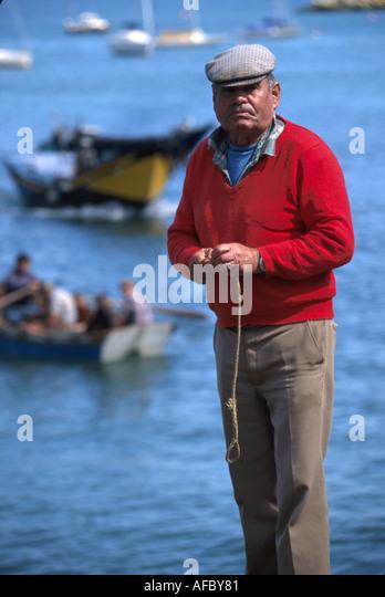 Portugal Cascais Atlantic Coast Praia do Peixe Fisherman's Beach mestre do mar fisherman - Stock Image