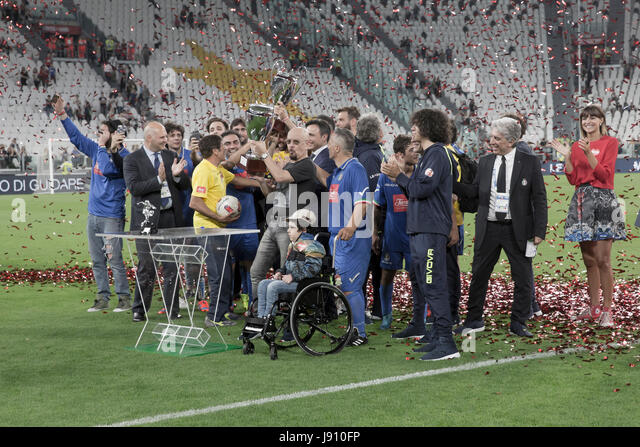 Turin, Italy. 30th May, 2017.  Football Charity Match, La Partita del Cuore 2017.Juventus Stadiun, Turin.Singers - Stock Image