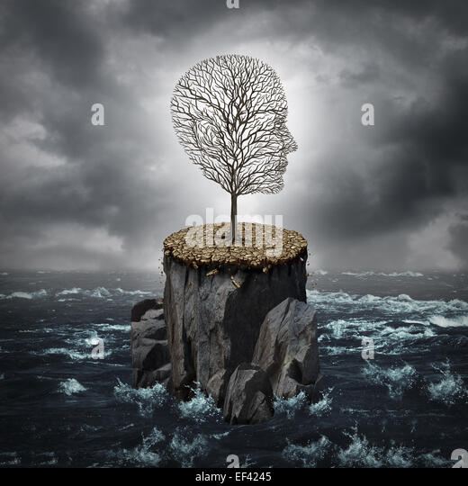 Failure crisis concept and lost business career or education opportunity metaphor as a dying tree shaped as a human - Stock-Bilder