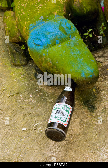 Belize City green stone alligator blue eyes bottle local Belikin beer in mouth humor humour odd funny - Stock Image