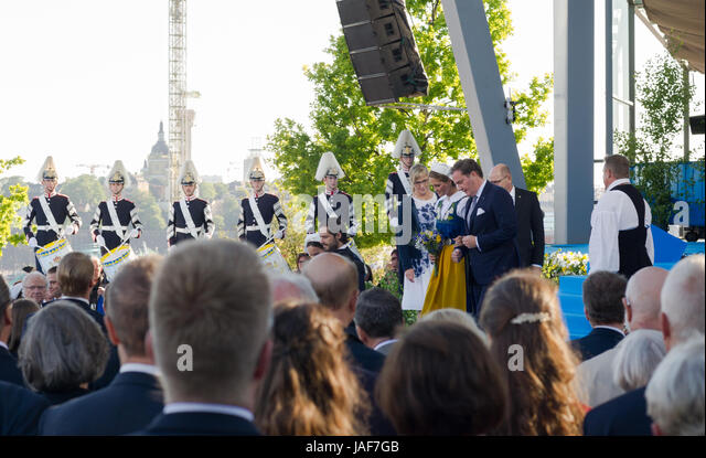 Stockholm, Sweden. 6th June, 2017. The National Day of Sweden. Festivities at Solliden stage, Stockholm, in the - Stock Image