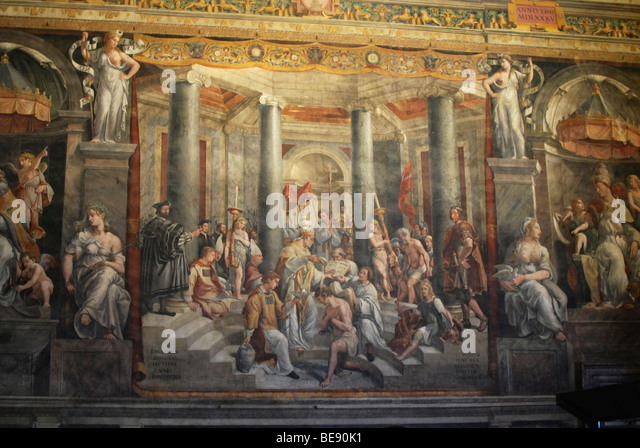 Painting Baptism of Constantine, Sala di Costantino, Vatican chambers, Vatican Museums, Old Town, Vatican City, - Stock Image