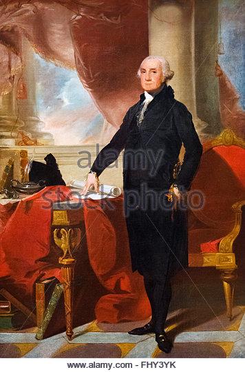 George Washington. Portrait of US President George Washington, after Gilbert Stuart, 1797 - Stock Image