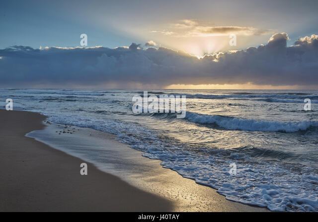 Sunrise at the Indian Ocean in iSimangaliso-Wetland Park, South Africa, Africa - Stock Image