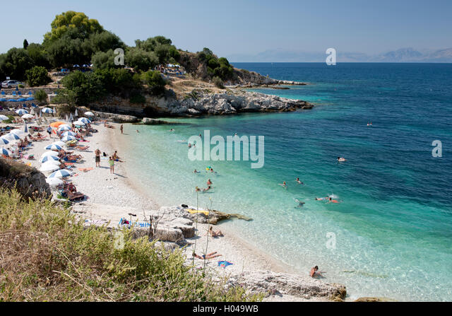 Bataria Beach near Kassiopi on the island of Corfu, The Ionian Islands, The Greek Islands, Greece, Europe - Stock Image