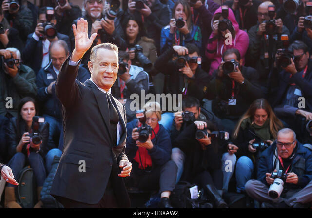 Rome, Italy. 13th October, 2016. Tom Hanks on the red carpet at the 11th film festival in Rome, greets the audience. - Stock Image