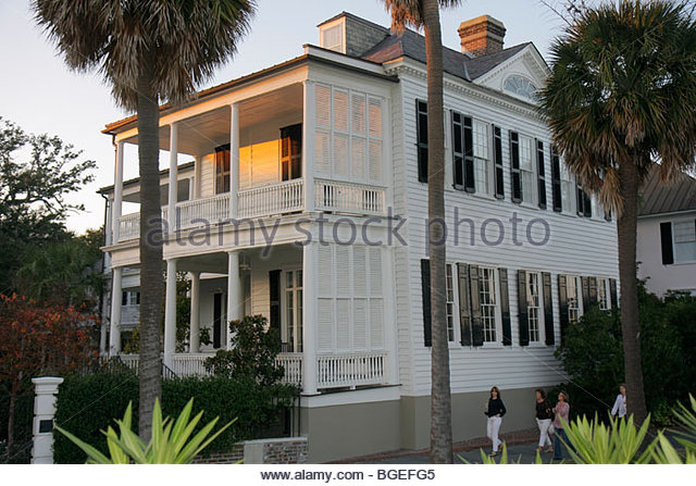 South Carolina Charleston National Historic Landmark Historic District preservation The Battery East Battery house - Stock Image