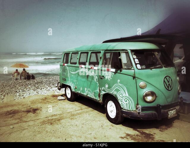 Vintage Volkswagen minivan near beach in Lima Peru - Stock Image