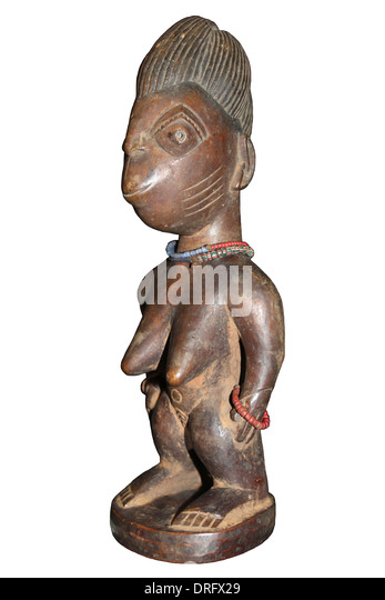 Nigerian Ibeji Figure - Carved Wooden Figure Made To House The Soul Of A Dead Twin - Stock Image