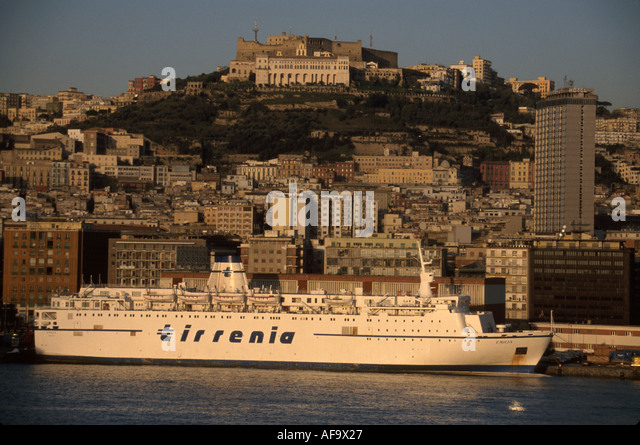 Italy Naples city view from harbor cruise ship - Stock Image