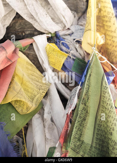 Prayer flags seen on the Everest Base Camp trail near Lobuche, Nepal - Stock Image